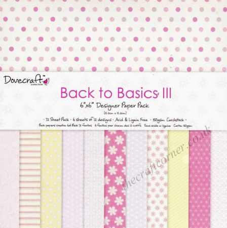 "Back To Basics III 6"" x 6"" Designer Paper Pack by Dovecraft"
